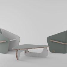 BOOMERANG + LINEA tavolino e poltrone realizzate da Materie Unite    hello@materieunite.it www.materieunite.it